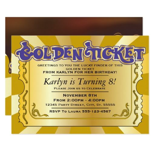 386 best images about Chocolate Birthday party Invitations on – Golden Ticket Party Invitations