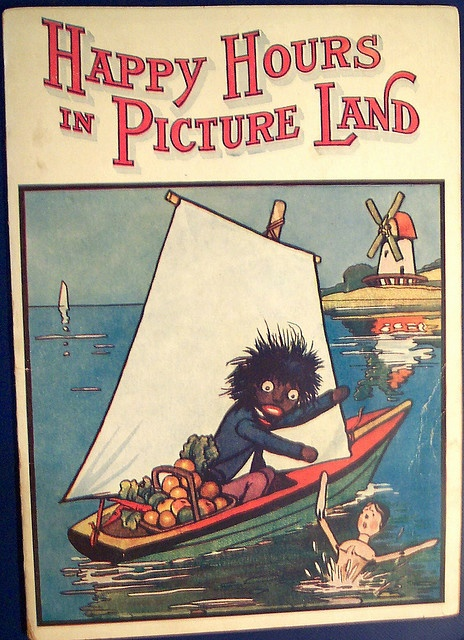 Not sure what this book is about but it sounds like Pinterest Land.  (Vintage Childrens Book Gollywog and Peg wooden Doll)