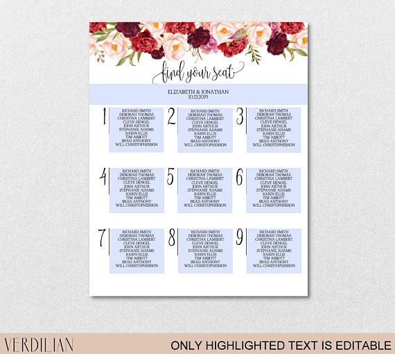 8 best Wedding Seating Charts images on Pinterest Seating chart - classroom seating chart templates