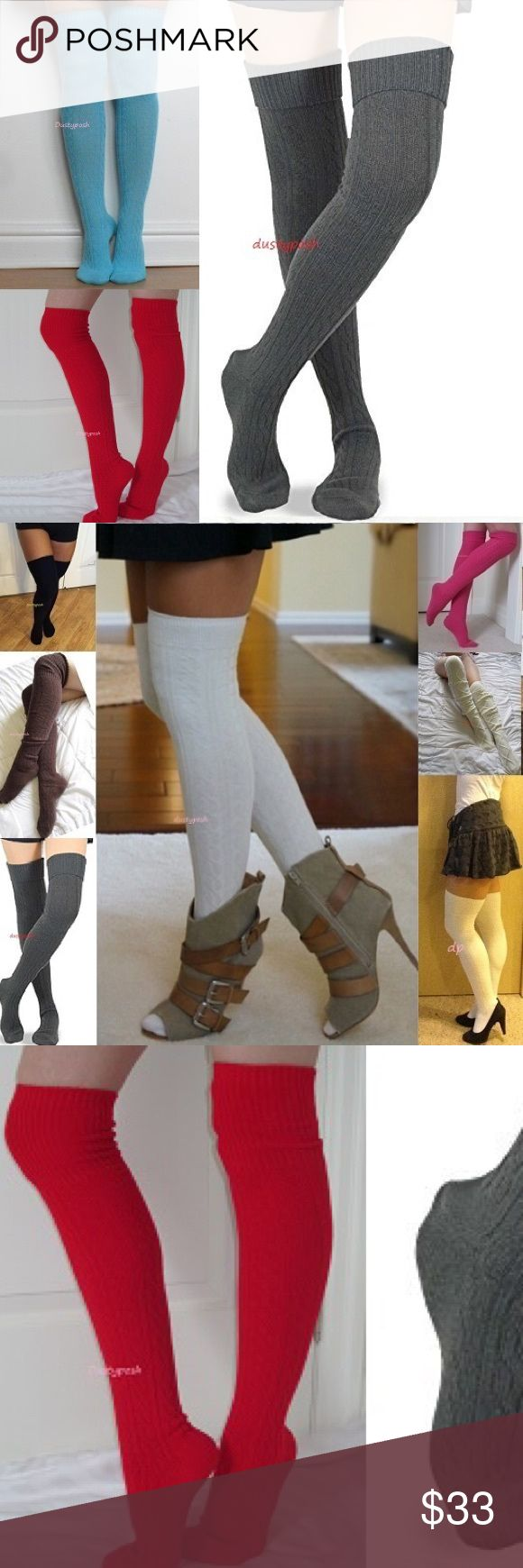 Cable Knit Over The Knee Sock Boot Cuff Thigh High Long soft cable knit over the knee socks. One pair new never worn, choose from ivory, black, hot pink, off white, brown, red or gray. Cute cozy boot socks, I'm sure you will love them. These are long enough to wear thigh high for most or over the knee with a nice cuff. Push them down below your knees and rock them as scrunchy knee highs. Surely to keep your tootsies warm, normal too thick socks thickness, not like cheap thin so called over…