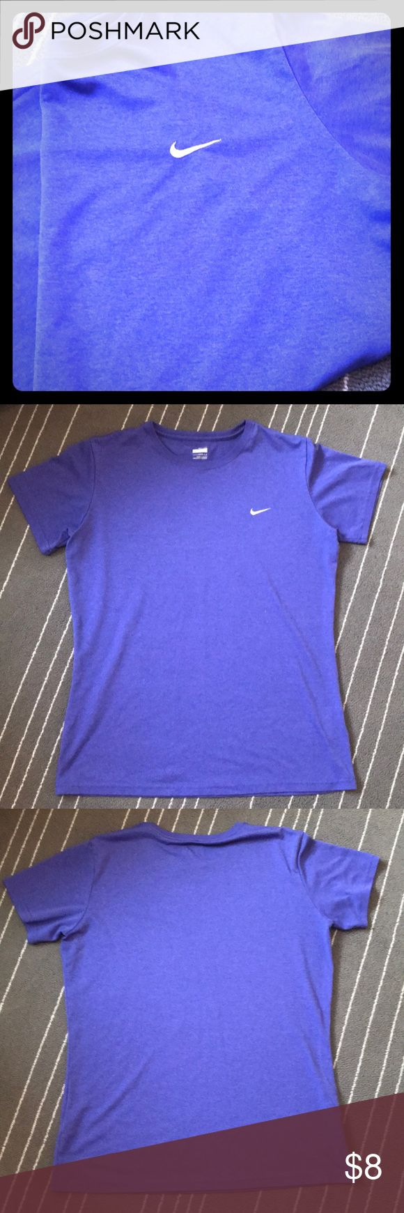 Nike Dry Fit Workout Top Women's size Large purple Dry Fit Nike Workout shirt. Good used condition! Nike Tops Tees - Short Sleeve