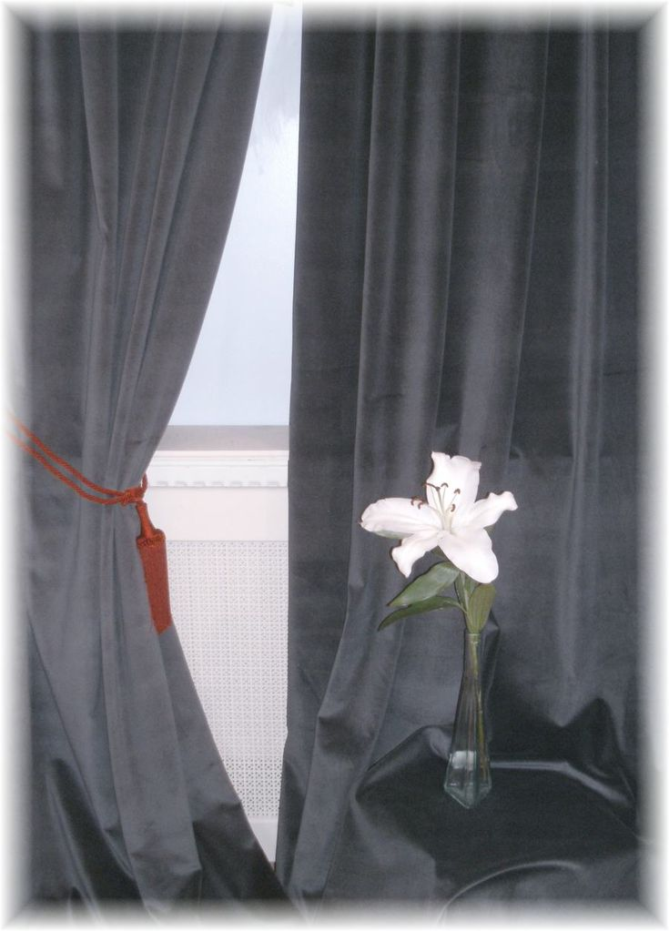 Striking Huge Charcoal Grey Velvet Curtains Made To Measure Bespoke Service | eBay