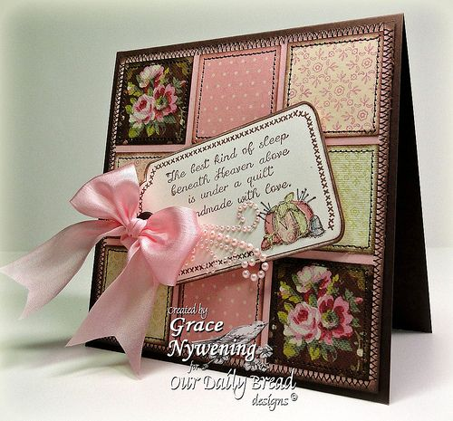 Pink and Brown are great together. I love this patchwork card.