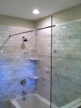 This Tub Shower Benefits From A Glass Splash Panel As Well As The Rod For  The Shower Curtain. Frameless Seamless Shower Enclosure Glass In Cincinnati  And ...