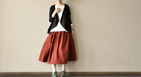 Spring Long Skirts linen Chic Skirts Cotton Skirts Big Pockets Women's Skirt --Women Clothing on Etsy, $52.32 AUD