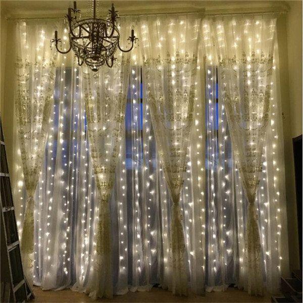 3mx3m 300 LED String Lights Curtain Lights 220V  Light Home Balcony Garden Christmas Decor