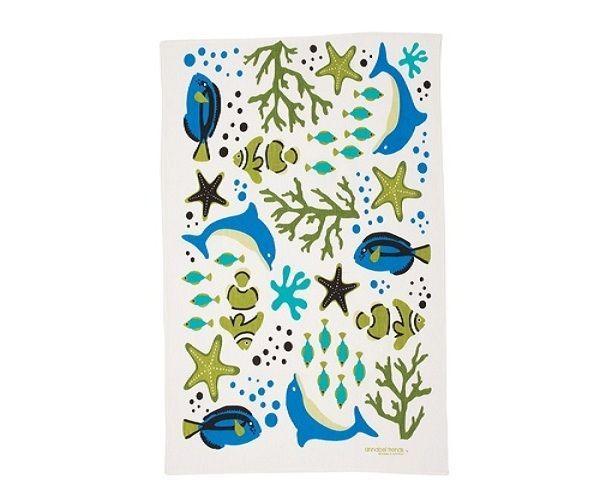 Sealife 100%  Linen Tea Towel Annabel Trends Vibrant Design Stylish Contemporary