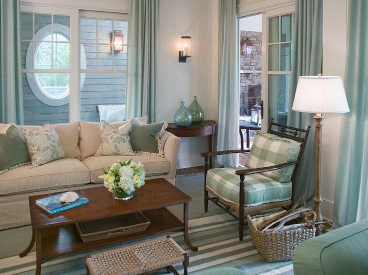 Close up of ivory & aqua room ~always love checks ~  Tammy Connor Interior Design