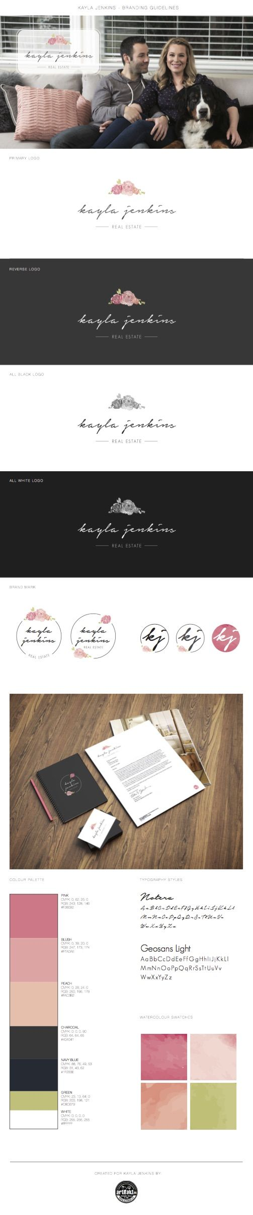 The completed branding guidelines we did for 'Kayla Jenkins', a real estate agent in Victoria, BC.