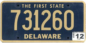 This is the official license plate for the state of Delaware as it has been officially adopted by the state legislature. Also known as a vehicle registration plate, it is used to identify the car and owner of a motor vehicle or trailer in the state.