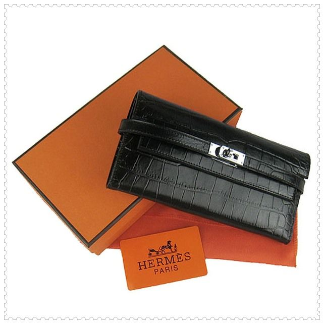 Hermes Kelly Wallet Crocodile Leather Black - Dobestbuy | Stuff to ...