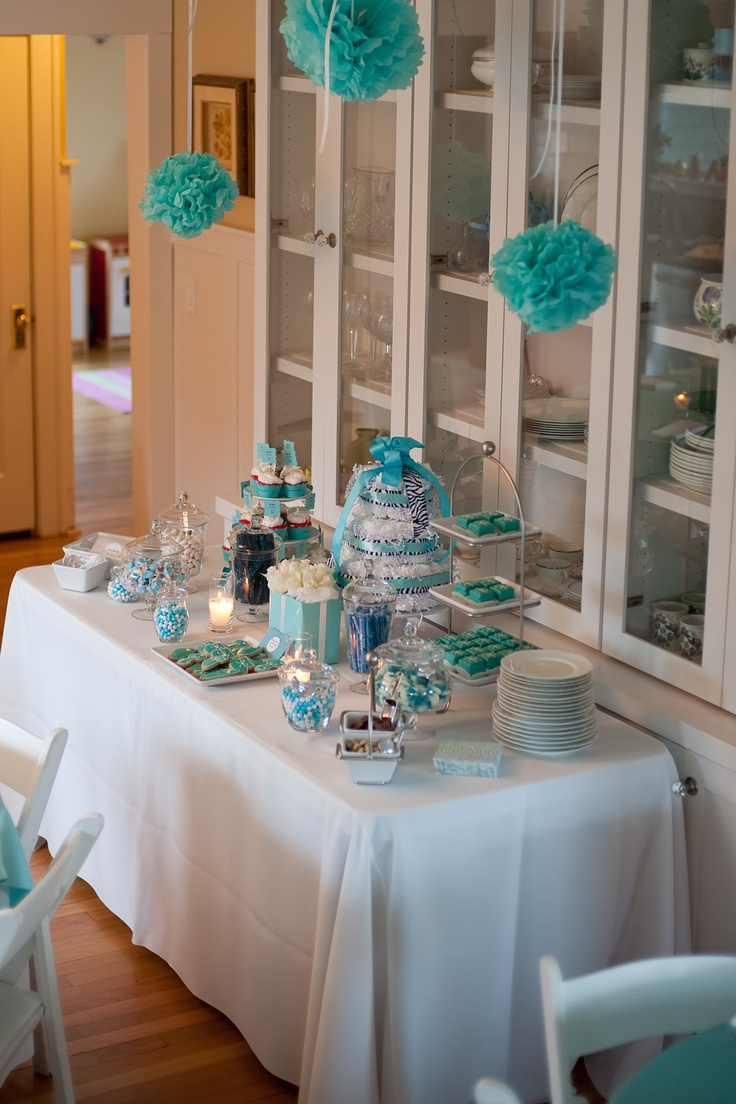 Pretty goodie table for Tiffany blue baby shower