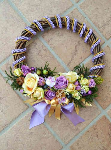 LARGE SIZED WREATH – Lavender - PatriziaB.com  Handcrafted wreath, woven from wicker, embellished with a refined decoration of rosettes, berries and satin ribbons