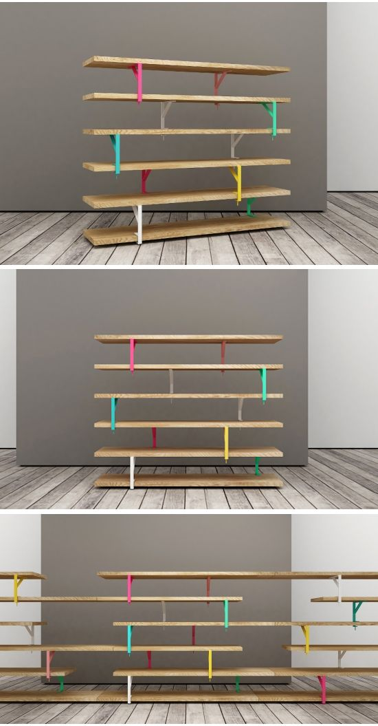 These shelves are intended to be fixed to the wall, but with with a little creative thinking Italian design company Teste di Legno have turned them into averycool freestanding bookcase. The best thing about this (even considering the colourful brackets) is that you could disassemble and reassemble it in various configurations depending on the size and shape of the space you need to fill.