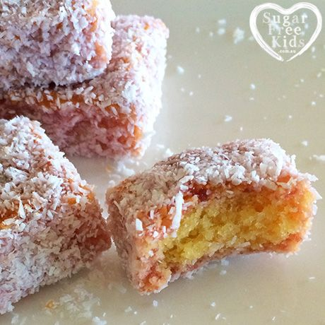 Sugar Free Kids Pink Lamingtons Grain Free Australia Day Pink Lamington recipe (Sugar and Gluten Free)