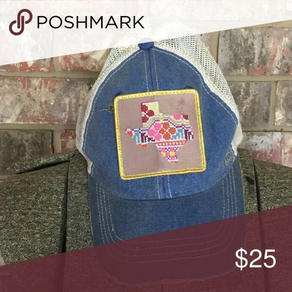 Judith March Texas cap Super fun Judith March Texas cap with distressed details. **Picture shows a dark spot above Texas. Not sure what it is and isn't as dark in person but have lowered price to make up for small flaw. Judith March Accessories Hats
