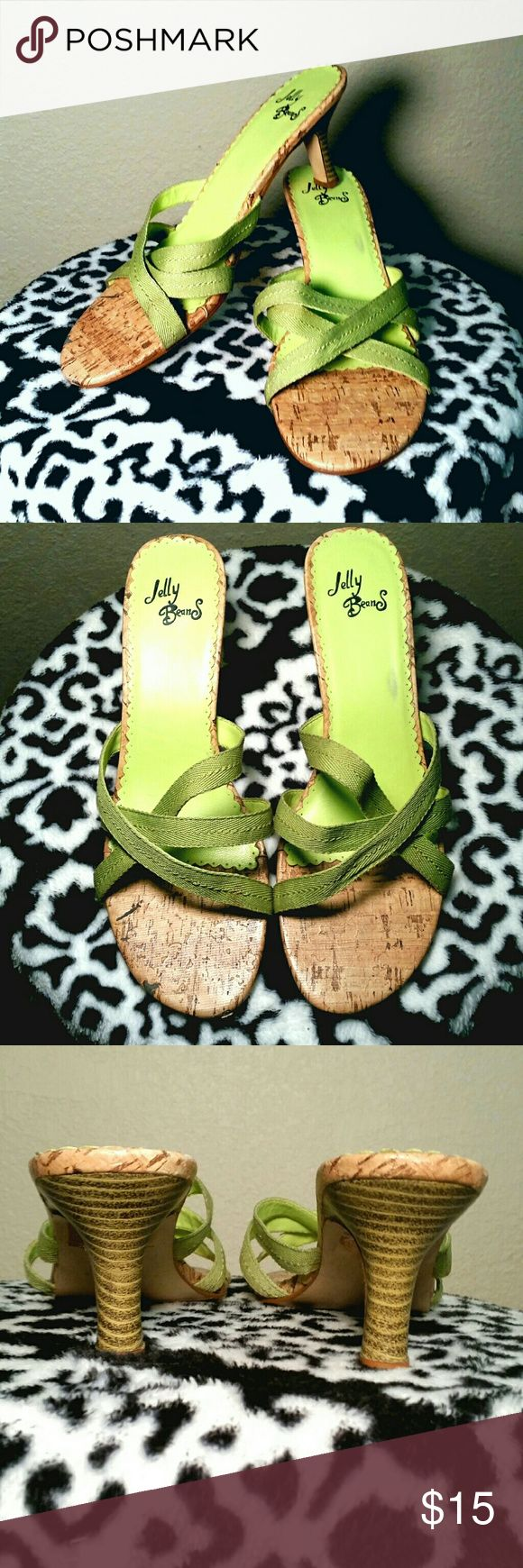 """Jelly Beans Sandals Slide sandals with lime cloth straps, bamboo look edging,. 3"""" heels. Jelly Beans Shoes Sandals"""