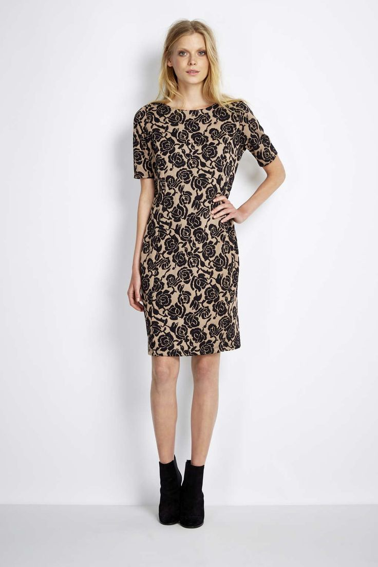 Photo 2 of Camel Floral Jacquard Dress