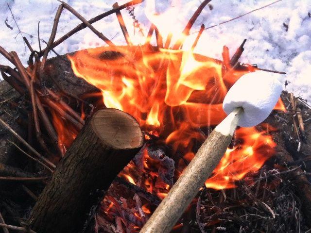 Mange børn har hørt om at varme skumfiduser over bål, men det ender tit med at blive noget klistret varmt stads. Vi havde en kammerat på besøg, og forsøget skulle gøres trods forårskulden (jeg havd…