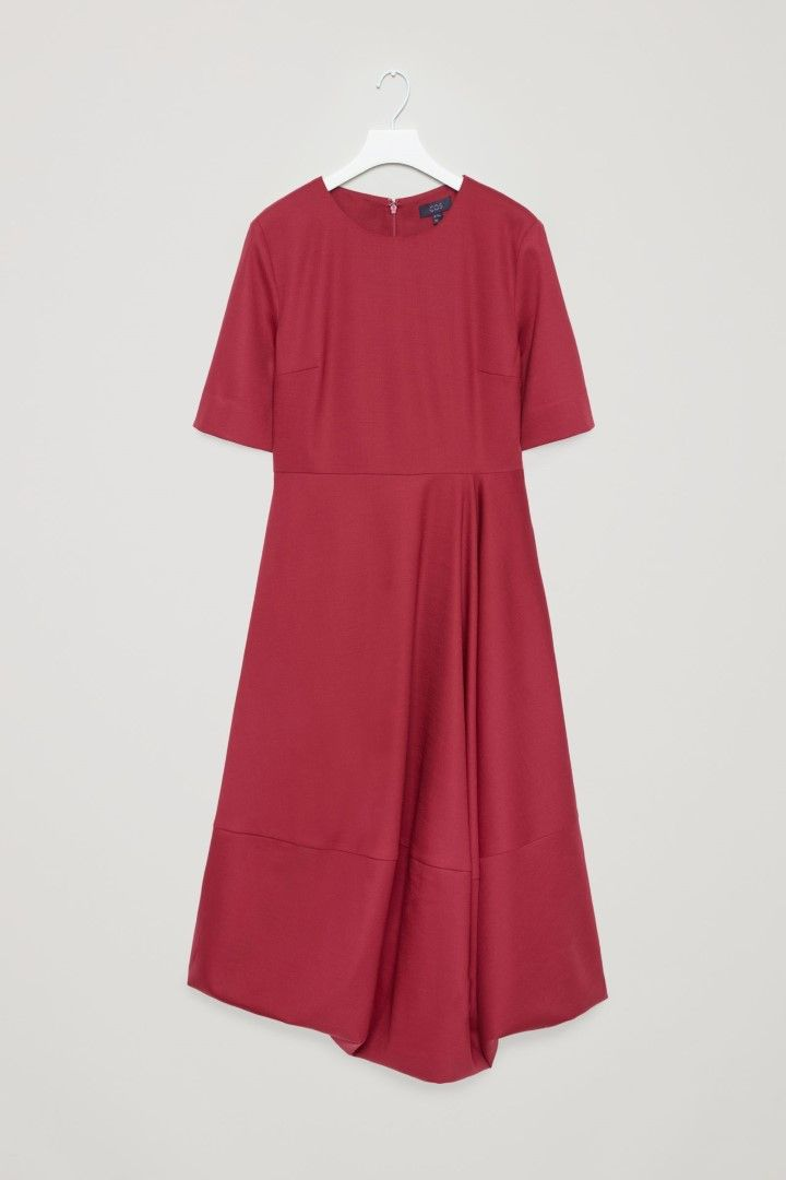 COS image 2 of Waisted dress with voluminous skirt  in Dark red
