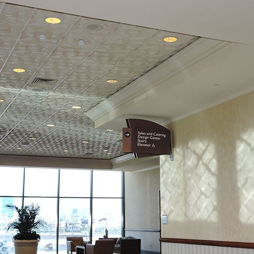 Deco 1 - Circle | Contemporary Ceiling Tile Reflections off the Ceiling! MGM Conference Center in Las Vegas, NV
