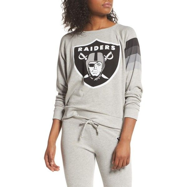 Women's Junk Food Nfl Oakland Raiders Hacci Sweatshirt ($65) ❤ liked on Polyvore featuring tops, hoodies, sweatshirts, dove heather grey, nfl sweatshirts, junk food clothing, heather grey sweatshirt and nfl top