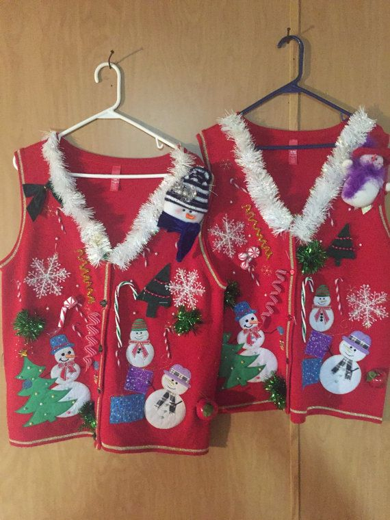 Tacky Ugly Hilarious Matching Set Couples Christmas Sweater Vests Womens XL Mens XL