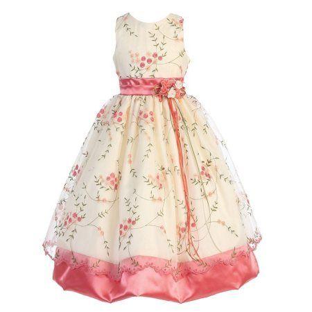 4625e5e57fa Girls Coral Ivory Print Sash Sleeveless Junior Bridesmaid Dress   bridesmaiddresses