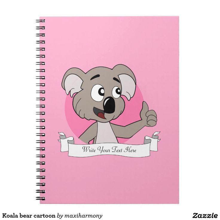 Koala bear cartoon spiral notebook