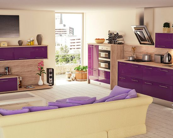 Kitchen Design, Aubergine Kitchen Theme Color With Contemporary Style Also Beige Modern Sofa And Purple Cushions Also Modern Living Room Wall Units Also Cool Exhaust Hood Design Also Beige Wall Paint Color: It is all about Aubergine Kitchen