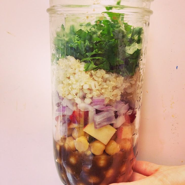 Mason Jar Salad Recipe Salads with lettuce, cooked barley, onions, chickpeas, dressing