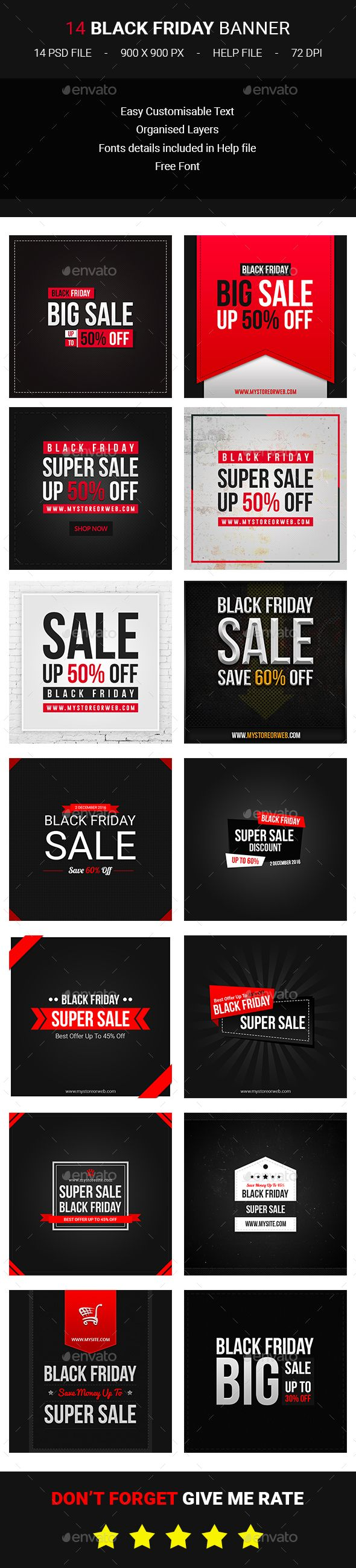 14 Black Friday Banners Template PSD