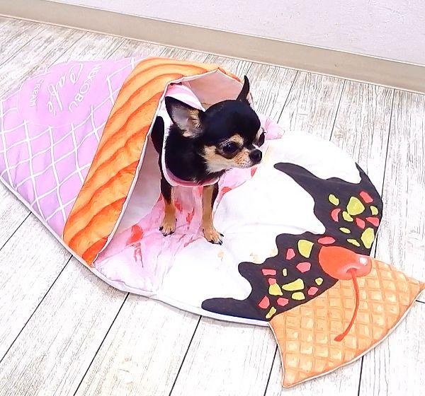 スイーツマット チワワ 犬 ベッド ベット クッション 小型犬 子犬 パピー マット スイーツ クレープ アイス シェル シェラフ ベッド フリース ラウンドベッド クッション チワワ専門店スキップドッグ チワワ ペット用品 チワワ犬 子犬 チワワ
