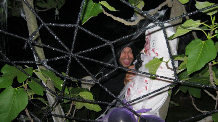 Huge spiderweb and victim....and a creepy dude in the background.