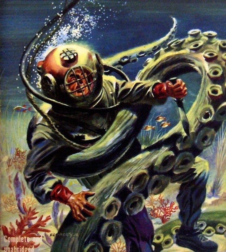 Deep Sea Diver fighting octopus.