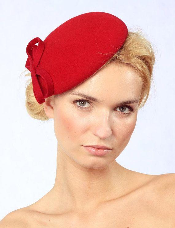 Felt Hat Bere tDark Red Wool Felt by kagikagi on Etsy, $54.00