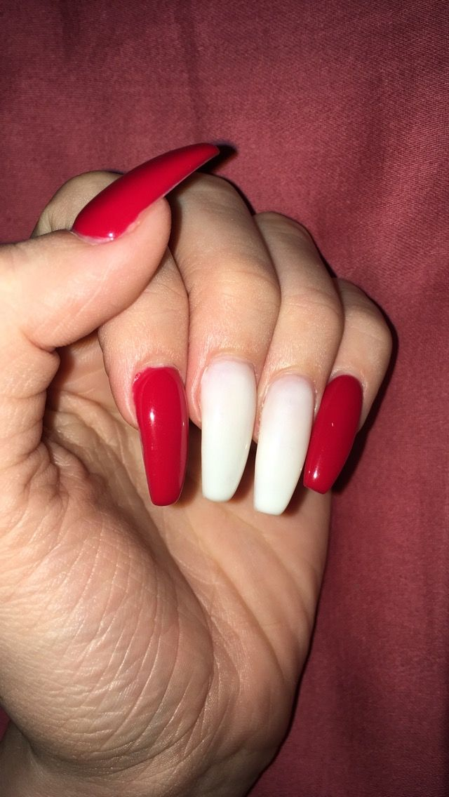Christmas nails, acrylics, coffin nails, red, white, gel