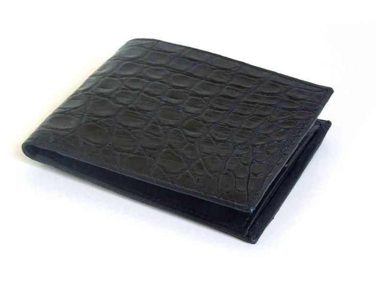 MarteModena bifold wallet genuine crocodile 4CC + coin case Black - MM019-B - Italy handmade - MarteModena