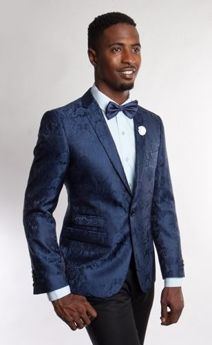 Blue Blazer for Men high fashion Paisley Blazers double style pockets slim fit #Mj181S #OneButton