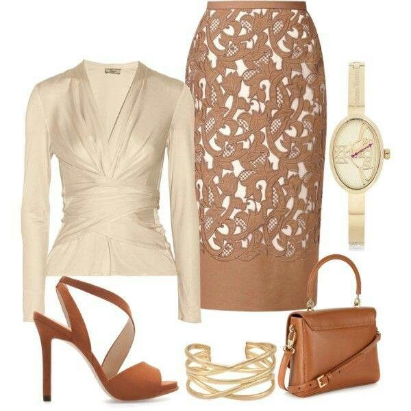 I love everything in this outfit except the watch and the skirt. The top is AMAZING, would love to own it.