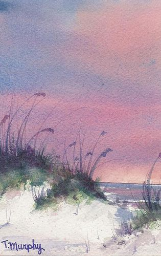 Watercolor by Tracee Murphy: I have a thing for landscapes such as this... It's the atmosphere they evoke I think. Remote. Peaceful.