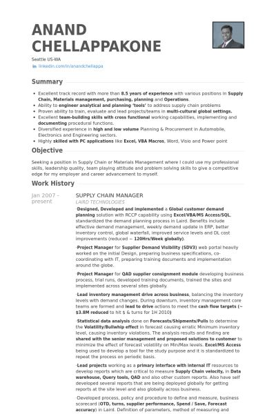 supply chain manager Resume Example