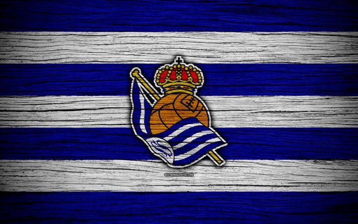 Download wallpapers FC Real Sociedad, 4k, Spain, LaLiga, wooden texture, soccer, Real Sociedad, football club, La Liga, Real Sociedad FC