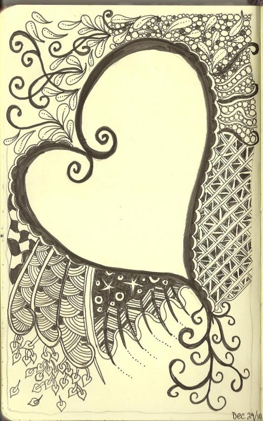Art Journaling - Zentagles swirly heart. Zentangles are pieces of unplanned, abstract, black and white art created with a very structured method from an ensemble of repetitive patterns. - http://tanglepatterns.com/zentangles/what-is-a-zentangle