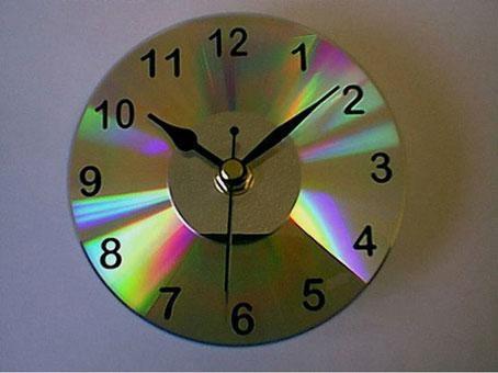 reloj con cd reciclado