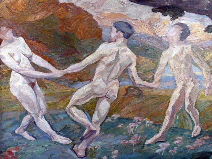 Edvard Weie: Livsglæden (tre dansende figurer, fragment af en større komposition, Joie de Vivre, 1908/1911).