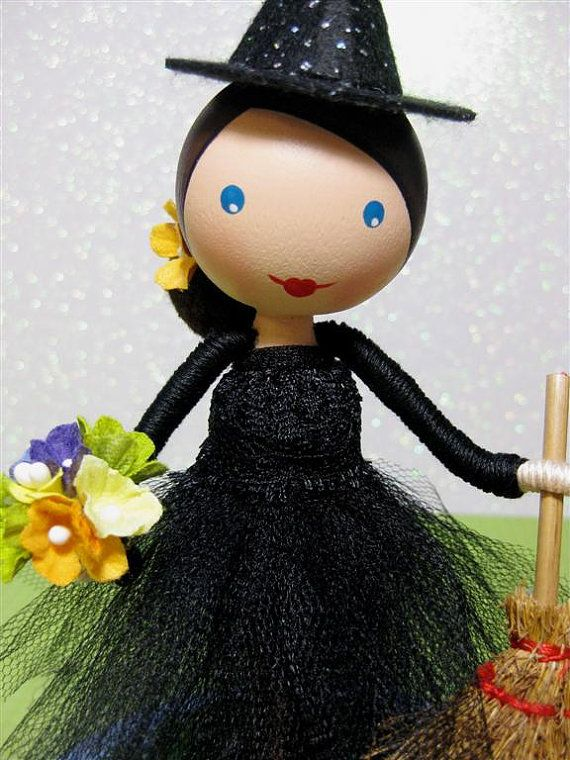 Halloween Witch Clothespin Doll Decoration by enchantedbelles