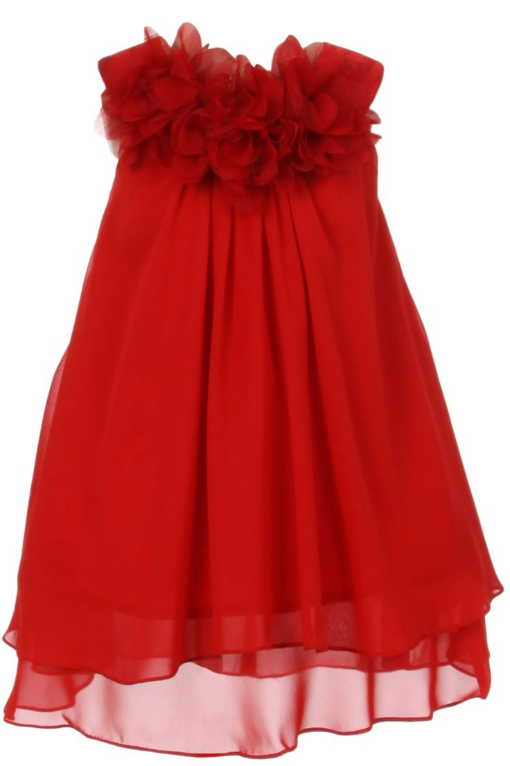 A Girl's Lovely Red Chiffon Knee Length Shift Dress with a Two Tier Layer Hemline, Satin Yoke and 3 Mesh Flowers at the Neckline. Girls Sizes: 2T, 3T/4T, 5/6, 7/8, 9/10, 11/12, 13/14 Kid's Dream Style