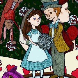 Alice e Cappellaio, illustrazione, matrimonio, wedding, wonderland. boniglio.wordpress.com