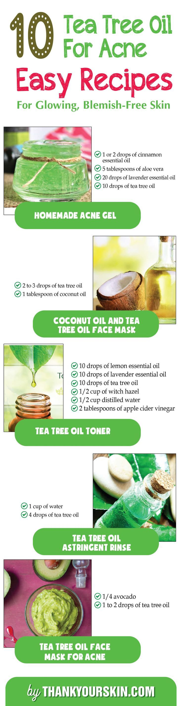 DIY Tea tree oil for Acne - Easy Homemade Recipes Face mask, TOner, cream for Getting rid of pimples fast and overnight #TeaTreeOilForAcne #DIYacne #ThankYourSkin